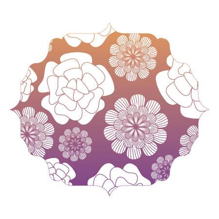 arabic frame with floral design over white background, colorful design. vector illustration Illustration