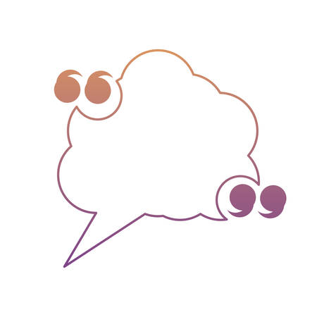 quotation marks with speech cloud icon over white background, colorful design. vector illustration Illustration