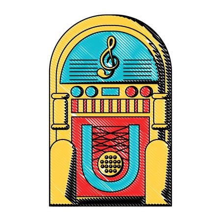 Retro rockola icon over white background, colorful design. Vector illustration Ilustração