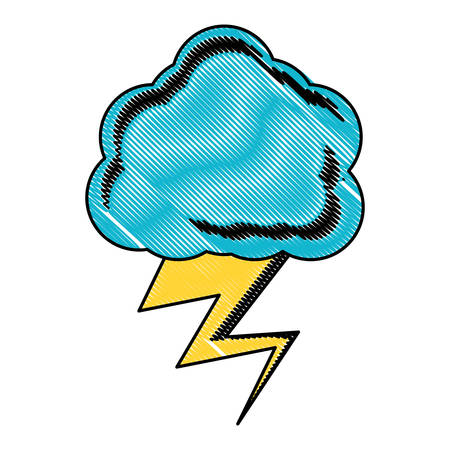 Cloud with thunder icon over white background, colored design. vector illustration. Vettoriali