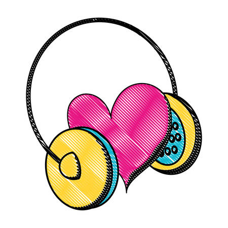 Headphones with heart icon over white background, pop art style, colorful design. Vector illustration Иллюстрация