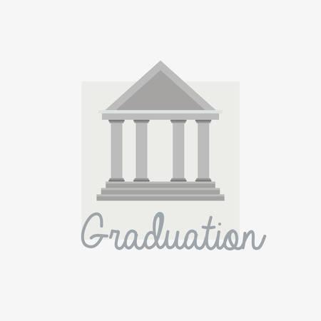 graduation design with university building symbol over white background, colorful design. vector illustration