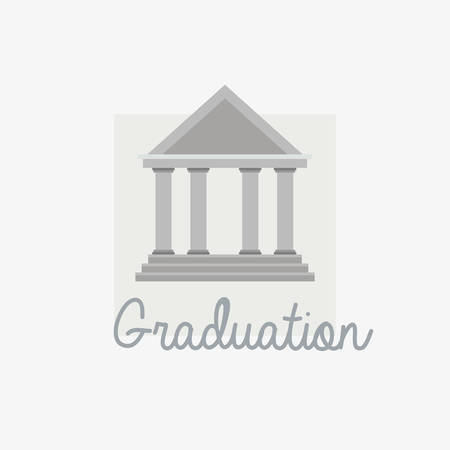 graduation design with university building symbol over white background, colorful design. vector illustration