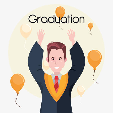 happy graduated man with decorative balloons around over white background, colorful design. vector illustration
