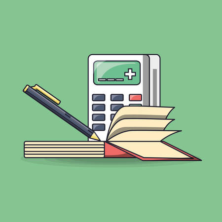 calculator with book and pen over green background, colorful design. vector illustration