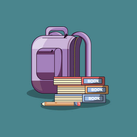 school backpack and books over blue background, colorful design. vector illustration