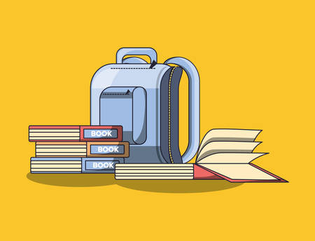 school backpack with books over yellow background, colorful design. vector illustration Illustration