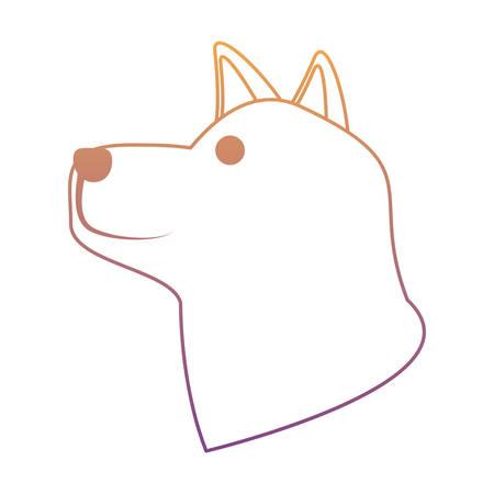 cute husky dog head icon over white background, colorful line design. vector illustration Illustration