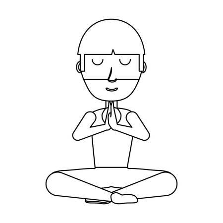 cartoon yogi man doing yoga over white background, vector illustration