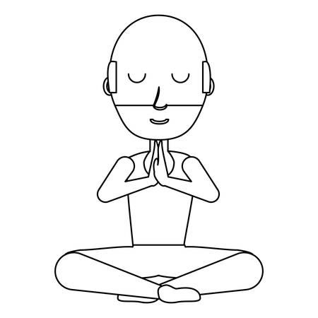 cartoon yogi man doing yoga over white background, vector illustration