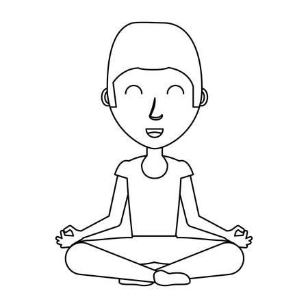 cartoon man doing lotus position over white background, black and white design. vector illustration