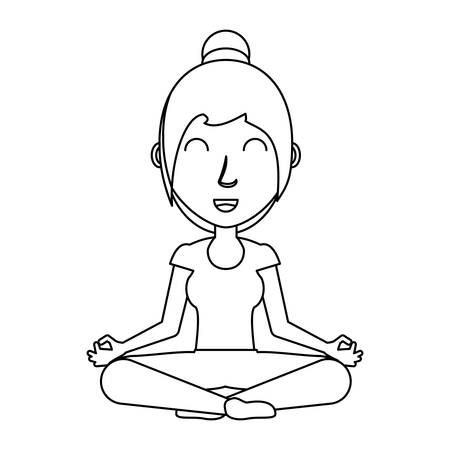 cartoon woman doing yoga with lotus posture over white background, black and white design. vector illustration