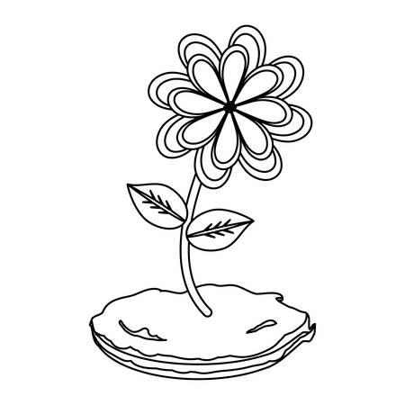 flower plant icon over white background, black and white design. vector illustration