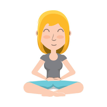 cartoon woman doing yoga with lotus posture over white background, colorful design. vector illustration