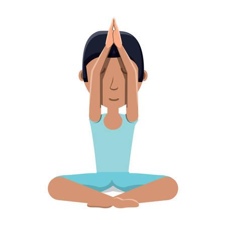 cartoon man doing yoga doing a namaste gesture over white background, colorful design. vector illustration