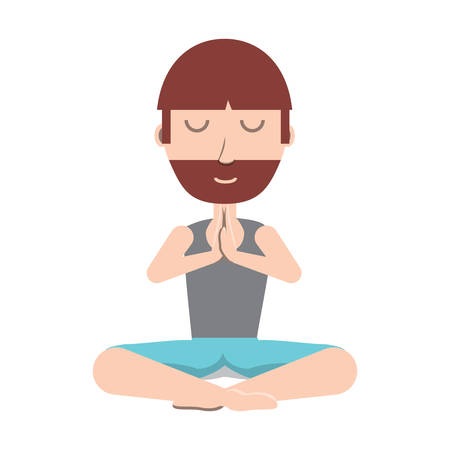 cartoon yogi man doing yoga over white background, colorful design. vector illustration