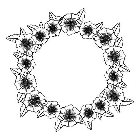 sketch of floral wreath icon over white background, vector illustration