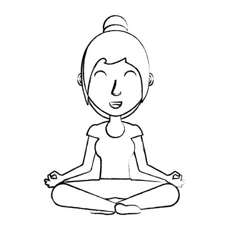 Sketch of cartoon woman doing yoga position