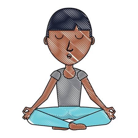 Cartoon man doing yoga Ilustracja