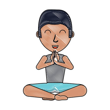 Cartoon man doing yoga Illustration