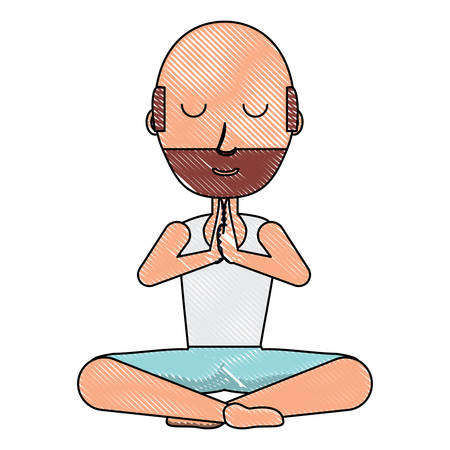 Cartoon man doing yoga Illustration