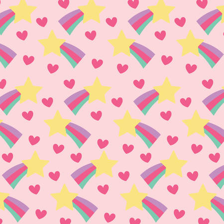 Shooting stars and hearts background, colorful design vector illustration. Illustration