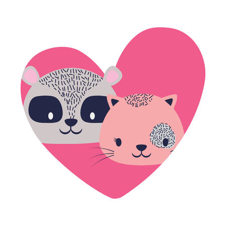 Heart with cute cat and raccoon over white background.