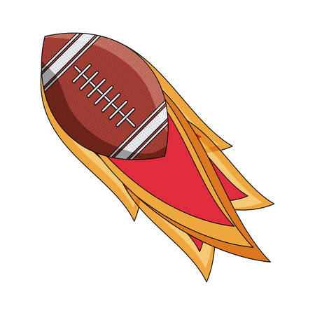 American football ball on Fire icon over white background, colorful design. vector illustration Vettoriali