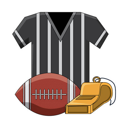 referee jersey and american football related icons over white background, colorful design. vector illustration