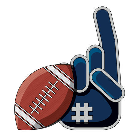american football ball and sport fan glove icon over white background, colorful design. vector illustration Vettoriali