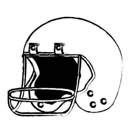 Sketch of American football helmet icon over white background, vector illustration Иллюстрация