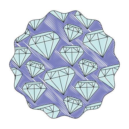 Decorative circular frame with diamonds design over white background, colorful design. vector illustration