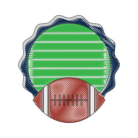 Decorative seal stamp with american football design and ball icon over white background, colorful design. vector illustration