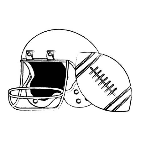 sketch of american football helmet and ball icon over white background, vector illustration Vettoriali
