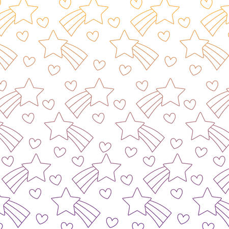 shooting stars and hearts background, colorful design. vector illustration
