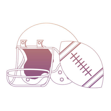 american football helmet and ball icon over white background, colorful design. vector illustration Vettoriali