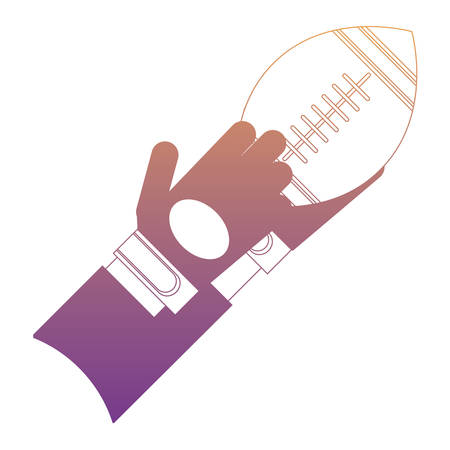 hand with american football ball icon over white background, colorful design. vector illustration