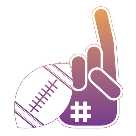 american football ball and sport fan glove icon over white background, colorful design. vector illustration Illustration
