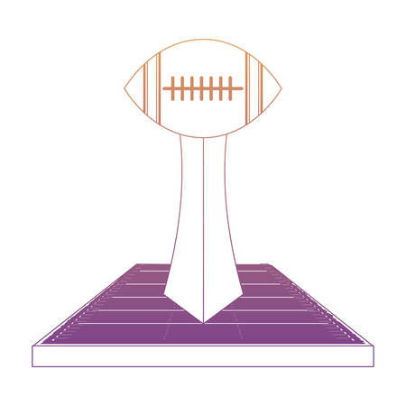 american football trophy with ball shape over white background, colorful design. vector illustration