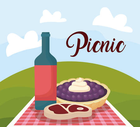 picnic landscape concept with pie and steak with wine bottle, colorful design. vector illustration Stock Illustratie
