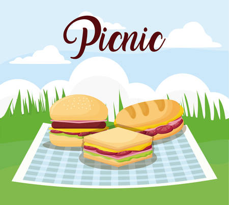 picnic landscape concept with hamburger and sandwichs, colorful design. vector illustration