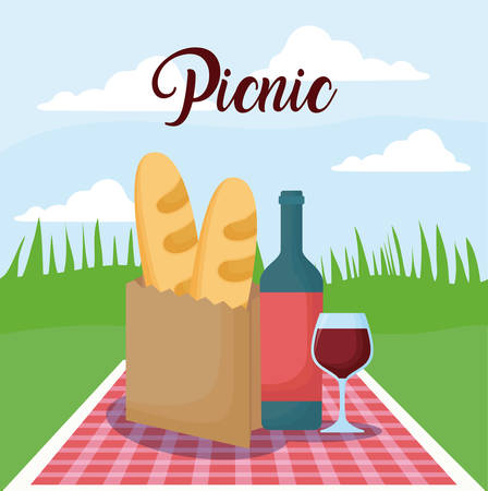 picnic landscape concept with bag with bread and wine bottle, colorful design. vector illustration