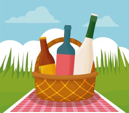 basket with bottles over landscape background, picnic concept, vector illustration Stock Illustratie