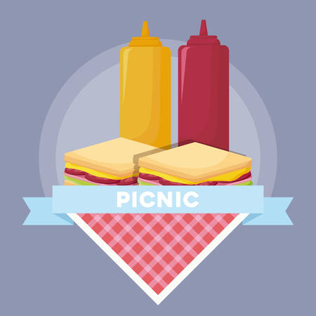 emblem of picnic concept with sandwichs and sauces bottles over purple background, colorful design. vector illustration Vectores