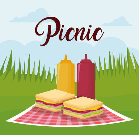 picnic landscape concept with sandwichs and sauce bottles, colorful design. vector illustration