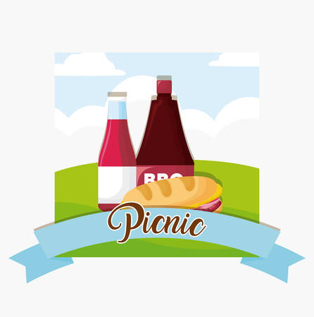 picnic emblem with sandwich and sauce bottles over landscape and white background, colorful design. vector illustration Illustration