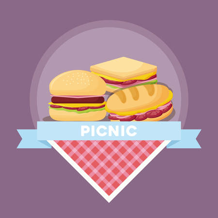 Picnic food emblem with sandwichs and hamburger over purple background, colorful design. vector illustration Vectores
