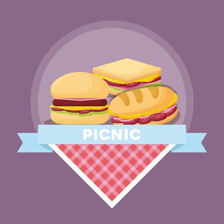 Emblema de comida de picnic con sándwiches y hamburguesas sobre fondo morado, diseño colorido. ilustración vectorial