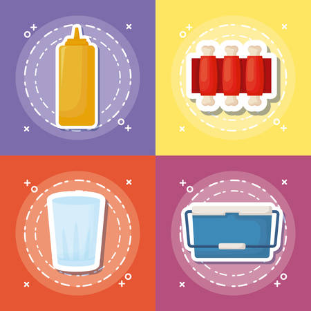 icon set of picnic food concept over colorful squares, vector illustration