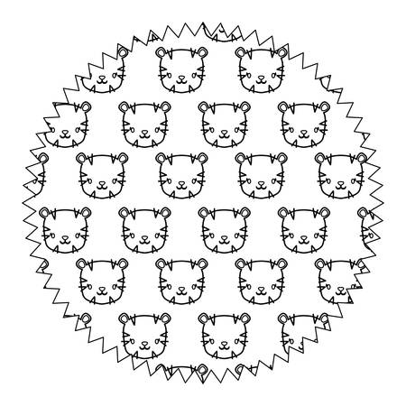 circular frame with cute tigers pattern over white background, vector illustration